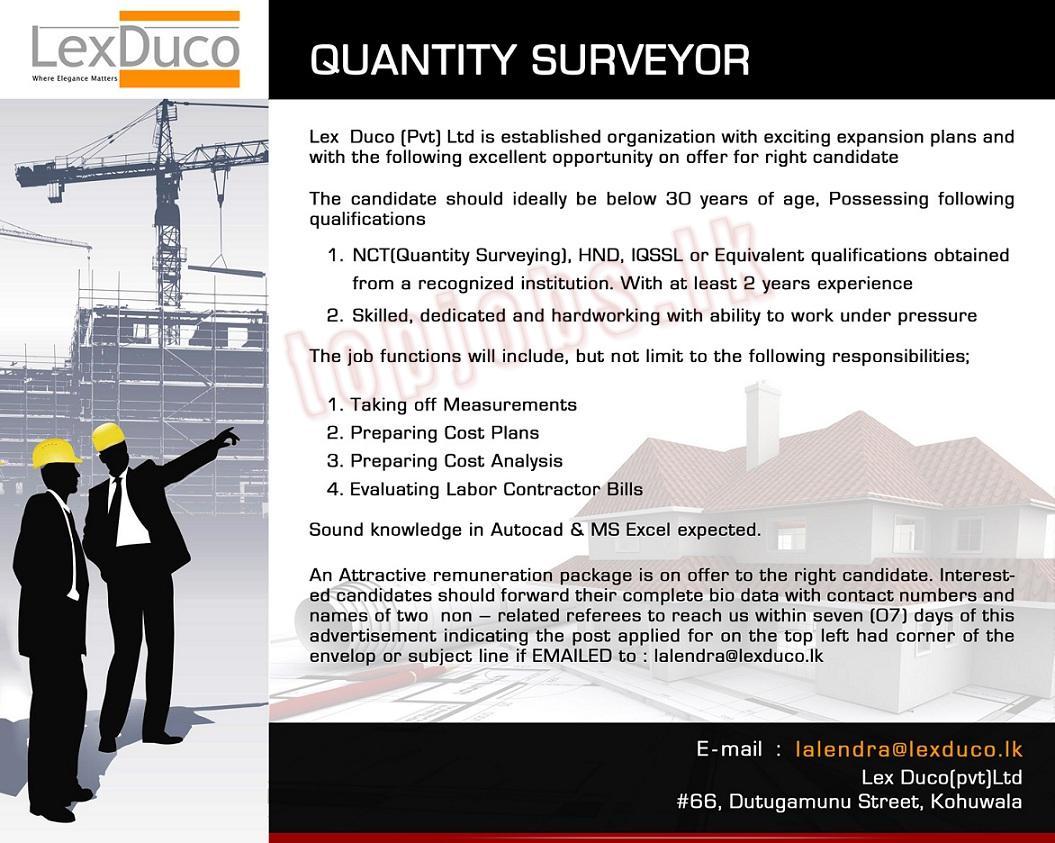 vacancy advertisement quantity surveyor